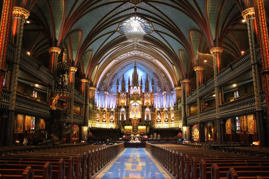 Long view of path leading to the alter inside Basilique Notre-Dame de Montréal.