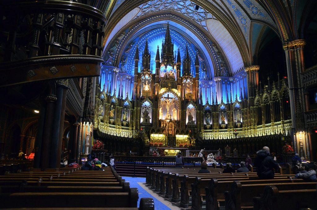 Interior angle shot of Basilique Notre-Dame de Montréal.