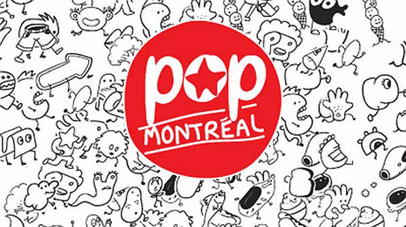 Black and white line drawing cartoon with the POP Montréal logo in the center.