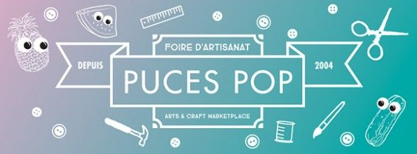 Stylized cartoon and banner ad for Puces Pop Montreal.